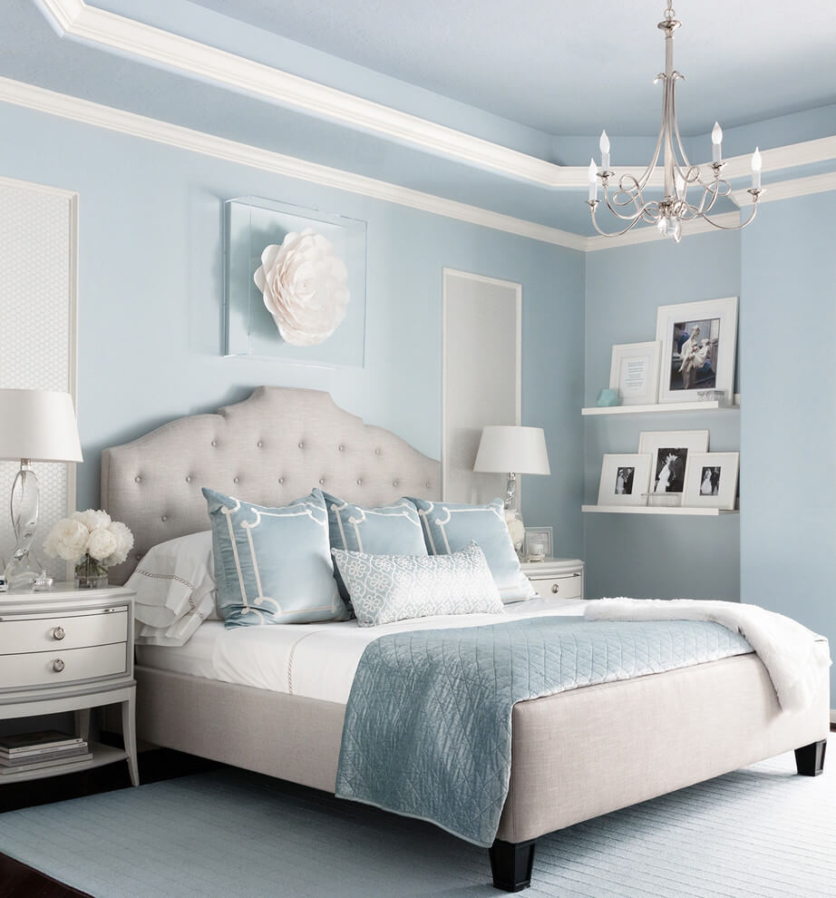 Relaxing Light Blue Bedroom Paint