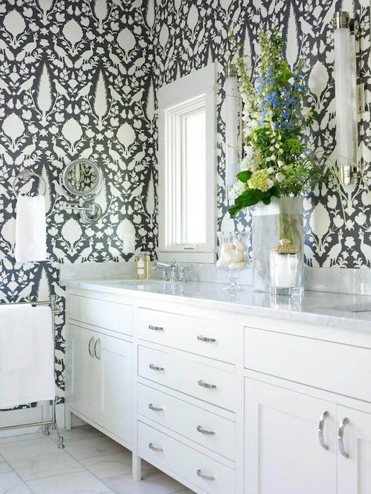 Chenonceau Pattern Bathroom Wallpaper